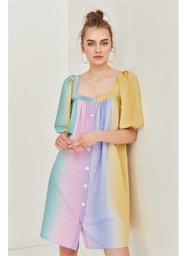 Vitrin VİTRİN Kare Yaka Önden Düğmeli Renk Geçişli Elbise Renkli